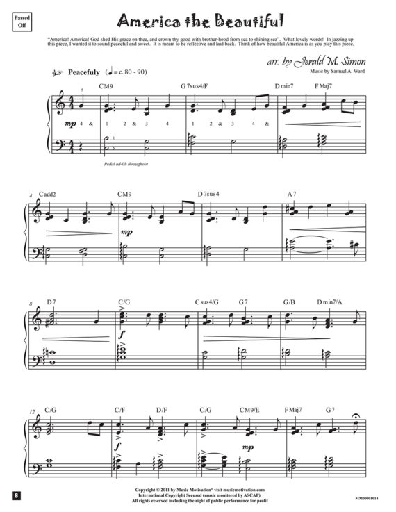America the Beautiful arr. by Jerald Simon from the book, Jazzed about 4th of July (published by Music Motivation)