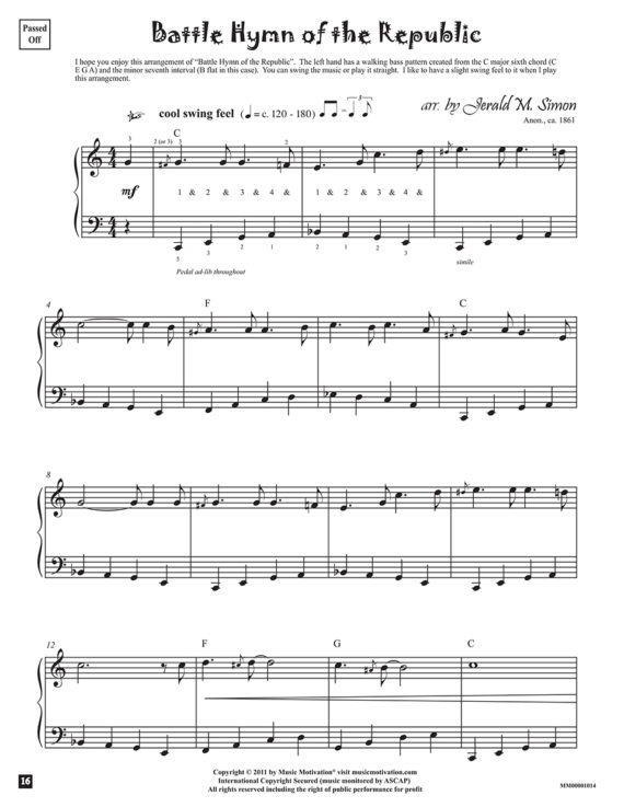 Battle Hymn of the Republic arr. by Jerald Simon from the book, Jazzed about 4th of July (published by Music Motivation)