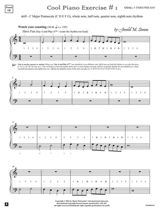 "Cool Piano Exercise # 1 by Jerald Simon - from the book ""Cool Songs for Cool Kids"" (Primer Level) - published by Music Motivation"