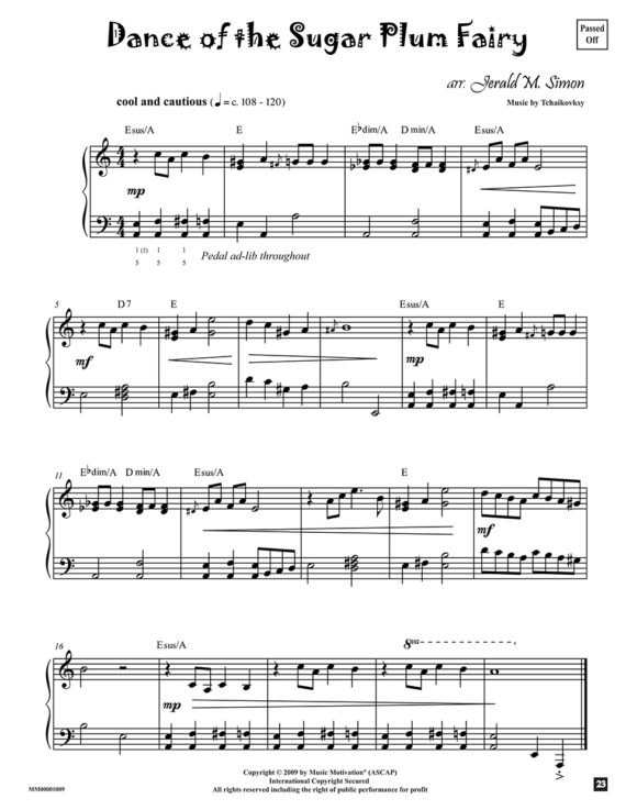 Dance of the Sugar Plum arr. by Jerald Simon (published by Music Motivation)