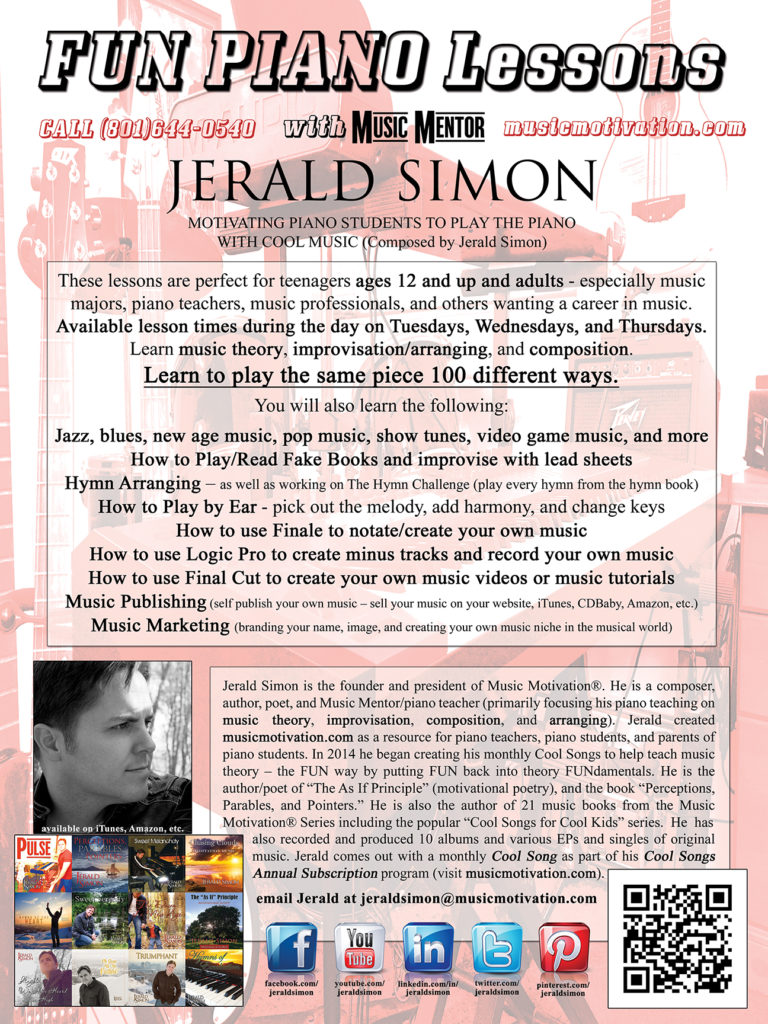 Fun Piano Lessons with Jerald Simon - Flyer for piano students interested in learning from Jerald
