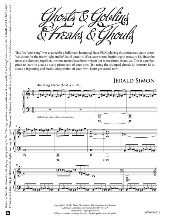 Ghosts and Goblins and Freaks and Ghouls by Jerald Simon - published by Music Motivation