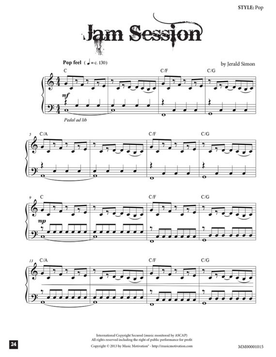 "Jam Session by Jerald Simon - from the book ""Cool Songs that ROCK!"" book 1) - published by Music Motivation"