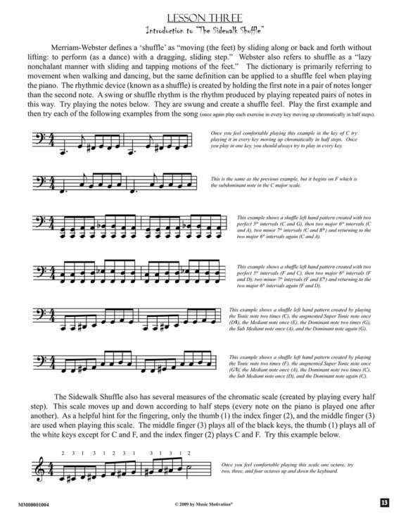 Lesson three - The Sidewalk Shuffle by Jerald Simon published by Music Motivation