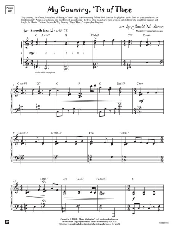 My Country, 'Tis of Thee arr. by Jerald Simon from the book, Jazzed about 4th of July (published by Music Motivation)