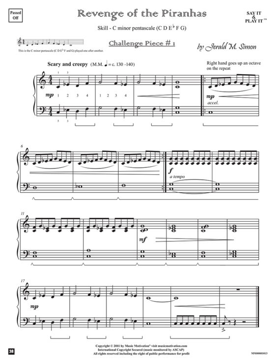 "Revenge of the Piranhas by Jerald Simon - from the book ""Cool Songs for Cool Kids"" (Primer Level) - published by Music Motivation"