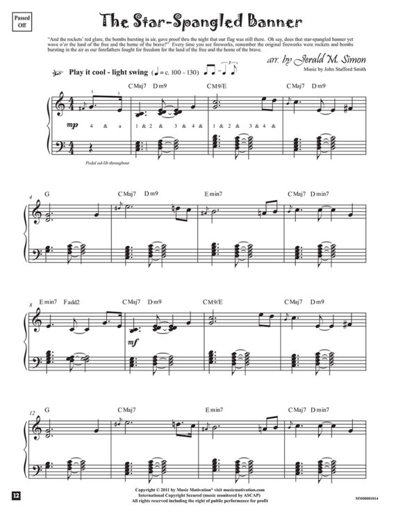 The Star Spangled Banner arr. by Jerald Simon from the book, Jazzed about 4th of July (published by Music Motivation)