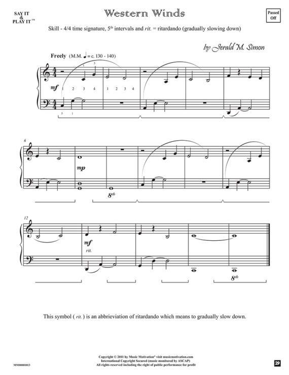 "Western Winds by Jerald Simon - from the book ""Cool Songs for Cool Kids"" (Primer Level) - published by Music Motivation"