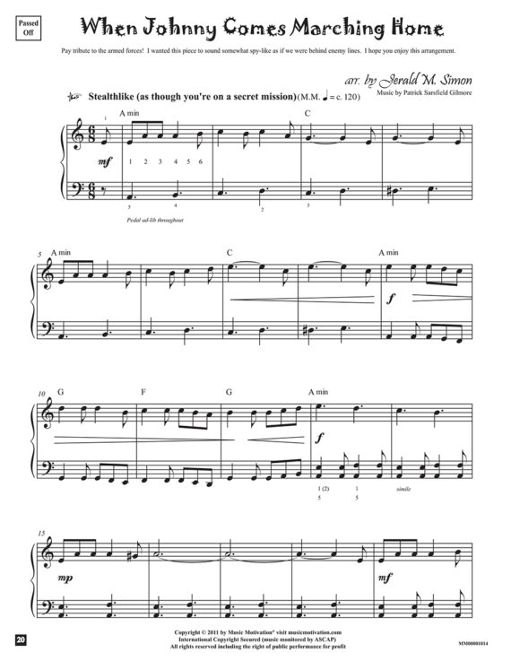 When Johnny Comes Marching Home arr. by Jerald Simon from the book, Jazzed about 4th of July (published by Music Motivation)