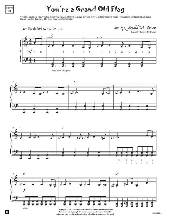 You're a Grand Old Flag arr. by Jerald Simon from the book, Jazzed about 4th of July (published by Music Motivation)
