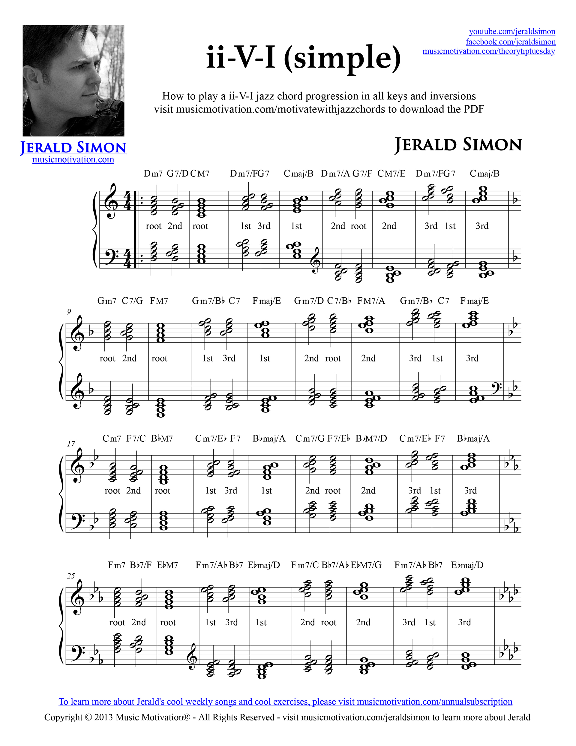 How to play a ii v i jazz chord progression musicmotivation once or twice a month i come out with a new theory tip tuesday as a way to motivate and inspire piano students and piano teachers hexwebz Images