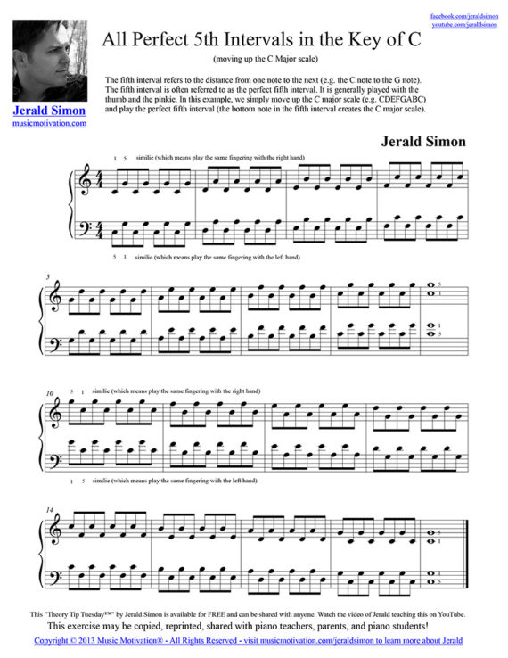 All Perfect Fifth Intervals moving up the C Major Scale by Jerald Simon