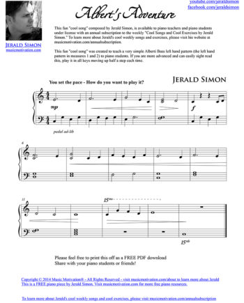Albert's Adventure - FREE PDF Piano Music by Jerald Simon - published by Music Motivation