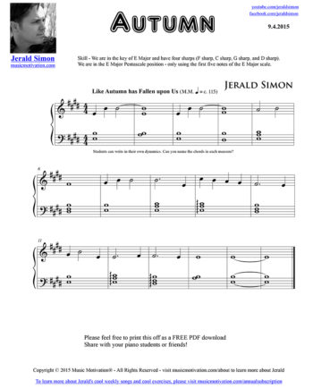 Autumn - FREE PDF Piano Music by Jerald Simon - published by Music Motivation