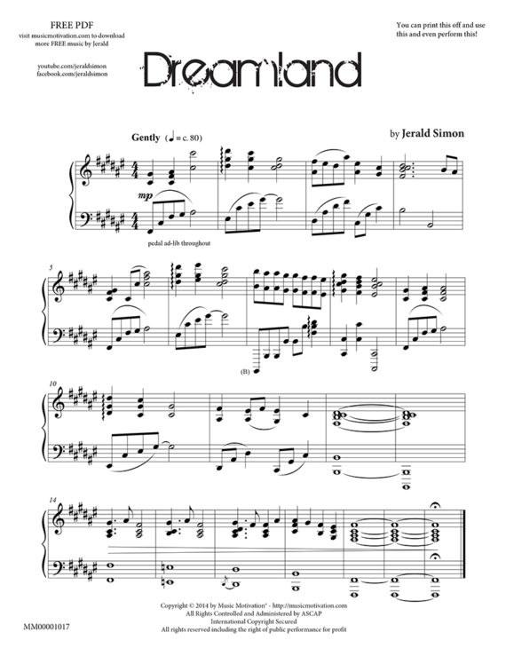 Dreamland by Jerald Simon from the book Sweet Melancholy published by Music Motivation