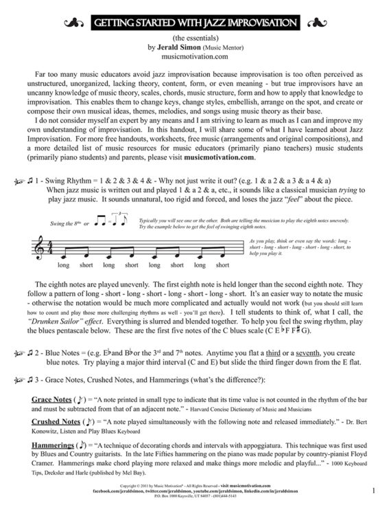 Getting Started with Jazz Improvisation by Jerald Simon - a FREE PDF - published by Music Motivation