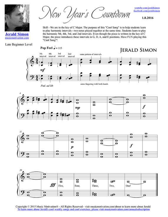 New Year's Countdown FREE PDF Piano Music by Jerald Simon - published by Music Motivation