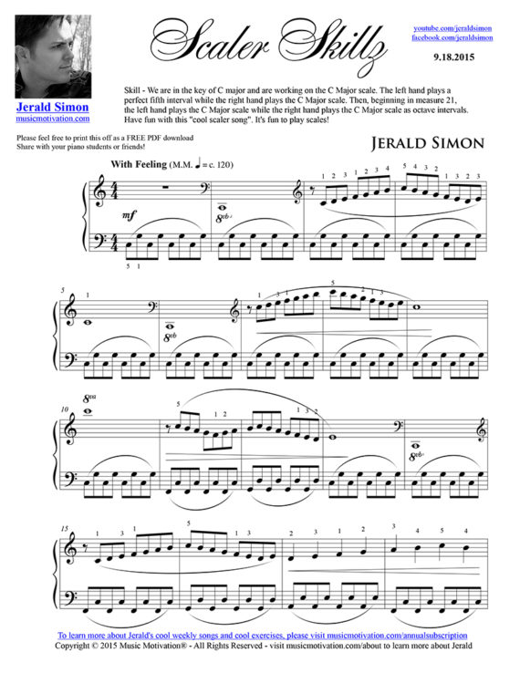 Scaler Skillz - FREE PDF Piano Music by Jerald Simon - published by Music Motivation