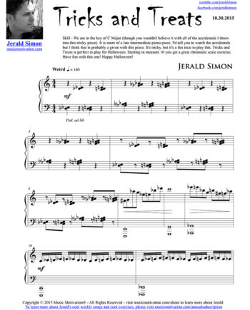 Tricks and Treats - FREE PDF Piano Music by Jerald Simon - published by Music Motivation