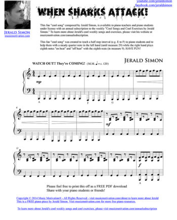 When Sharks ATTACK! FREE PDF Piano Music by Jerald Simon - published by Music Motivation