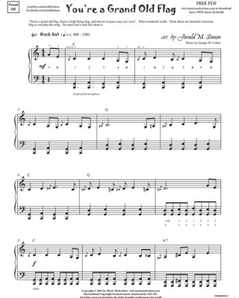 You're a Grand Old Flag arranged by Jerald Simon from the book Jazzed about 4th of July - published by Music Motivation