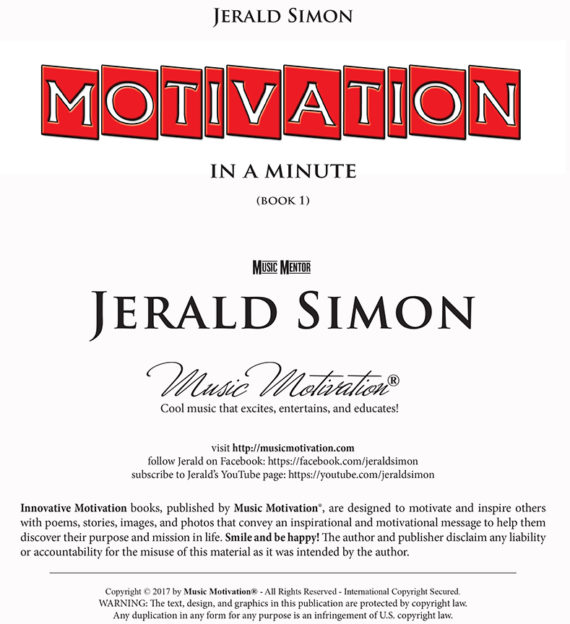 Motivation in a Minute by Jerald Simon - Published by Music Motivation