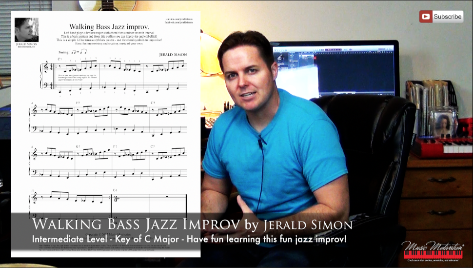 How to play a simple Left Hand Walking Bass Jazz Improv FREE PDF Handout by Jerald Simon (Music Motivation) - Image