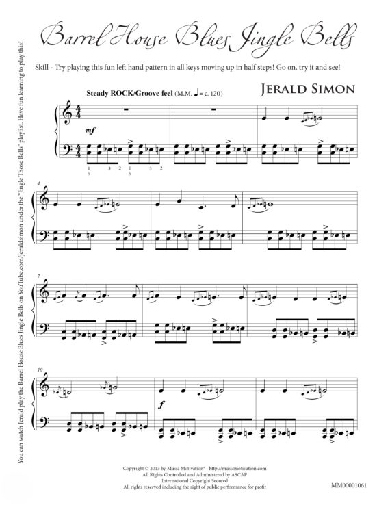 Barrel House Blues Jingle Bells by Jerald Simon - Published by Music Motivation