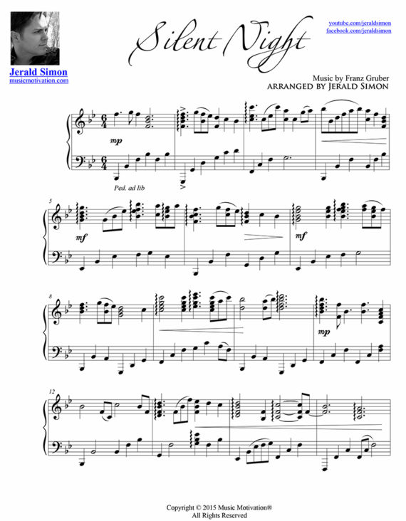 Silent Night arr. by Jerald Simon - published by Music Motivation