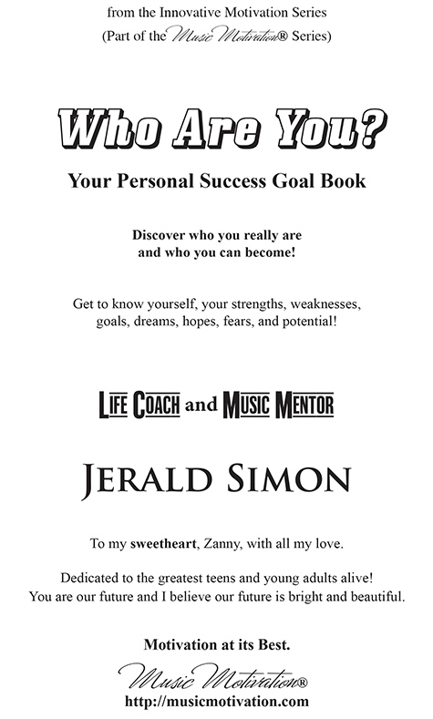 Who Are You? Inside page 1 sample by Jerald Simon - published by Music Motivation