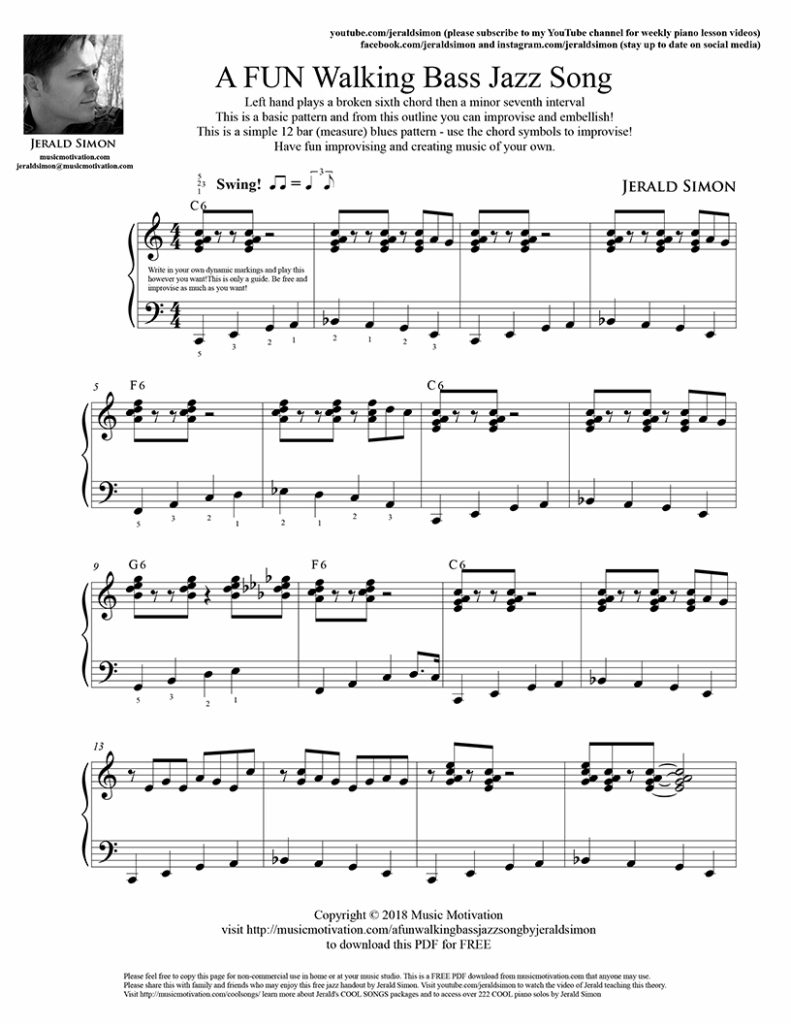 Motivate Piano Students to Play Piano with the 12 Bar Blues