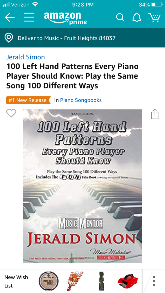 My new book, 100 Left Hand Patterns Every Piano Player