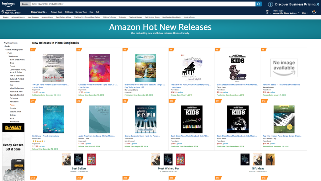 100 Left Hand Patterns Every Piano Player Should Know...by Jerald Simon - published by Music Motivation - #1 on Amazon's Hot New Releases category