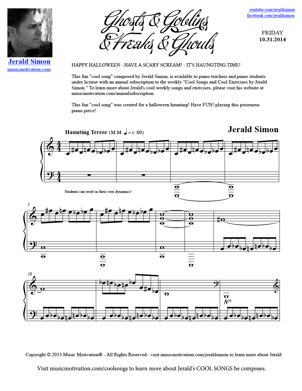Ghosts and Goblins and Freaks and Ghouls by Jerald Simon (Intermediate  Level - PDF, MP3s, and Video Lesson - Studio License