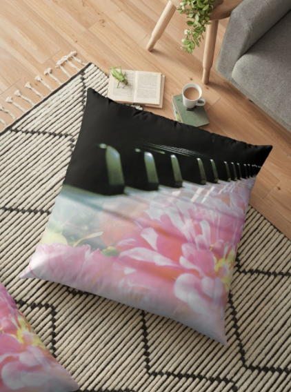 Flower Piano Keys Photography by Jerald Simon - Music Motivation (musicmotivation.com) - Pillow Case sold by RedBubble