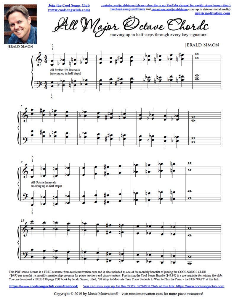 All Major Octave Chords (moving up in half steps) by Jerald Simon (Music Motivation - musicmotivation.com)